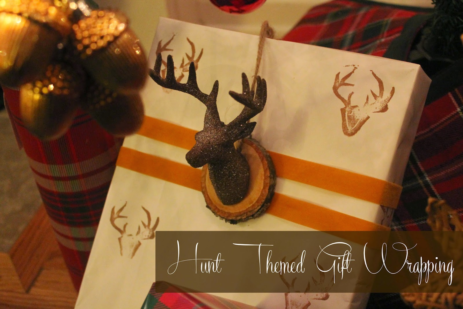 beautiful hunt theme gift wrapping, mounted deer head, the altered past blog