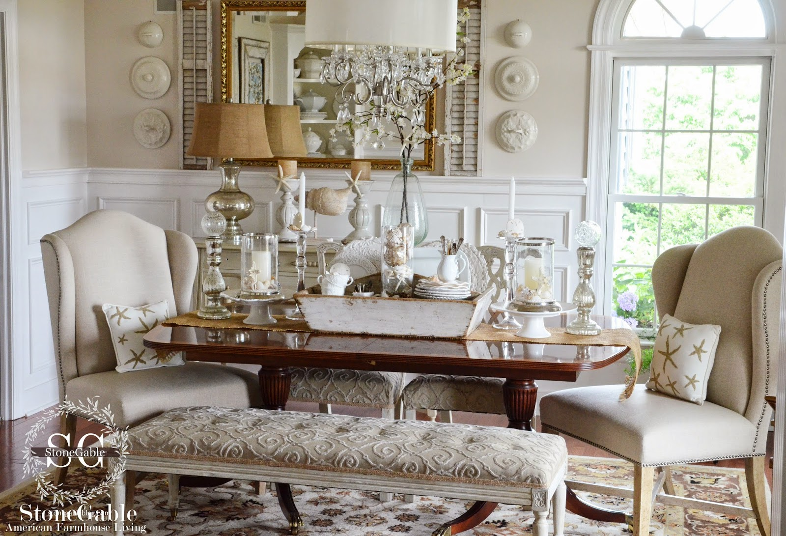 ELEMENTS OF SUMMER~ CHIC BEACH IN THE DINING ROOM - StoneGable on