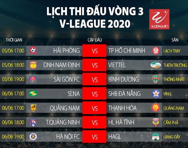 Lịch thi đấu V-League 2020 vòng 3
