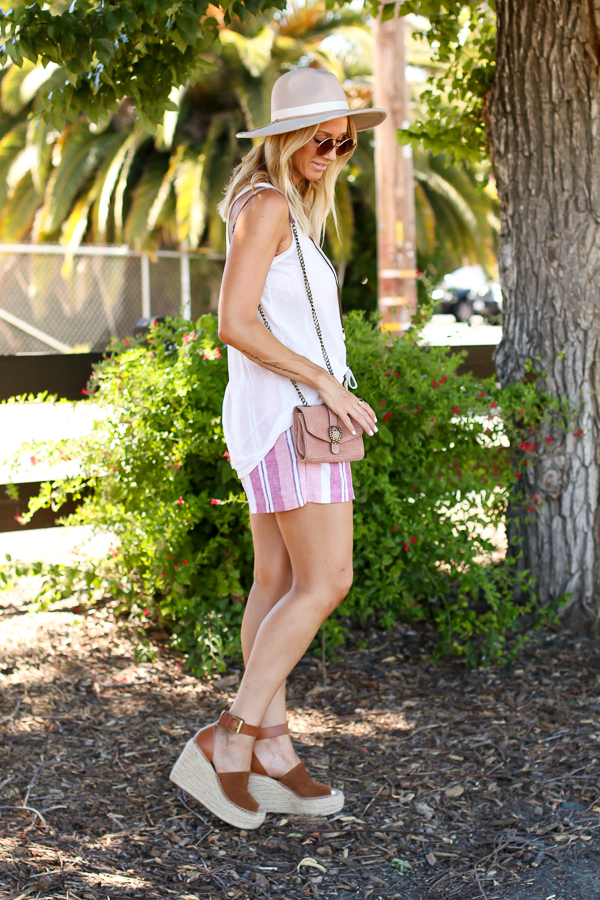 pink and rust striped shorts