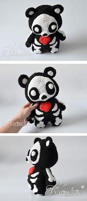 Krawka: Skeleton monster teddy bear, creepy and cute Halloween crochet pattern by Krawka