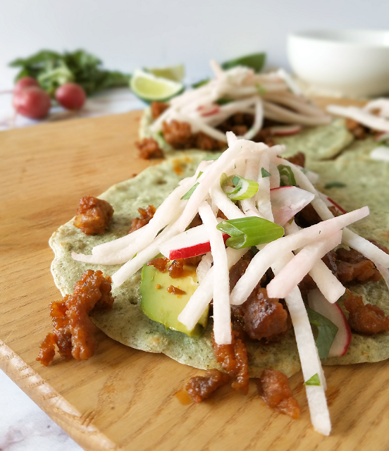If you love chorizo, you will love these tacos! Radish-Jicama Slaw balances the richness and bold flavor of the chorizo perfectly, and it all stays wrapped up thanks to my grain-free Pliable Pumpkin Seed Tortillas. Packed with nutrients and flavor, yet grain-free, dairy-free, Paleo and Whole30 compliant, these Chorizo Tacos would be a fun and healthy way to enjoy breakfast, Taco Tuesday, or Cinco de Mayo!