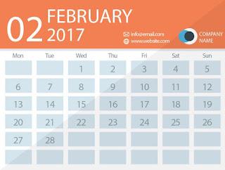 February 2017 timetable calendar