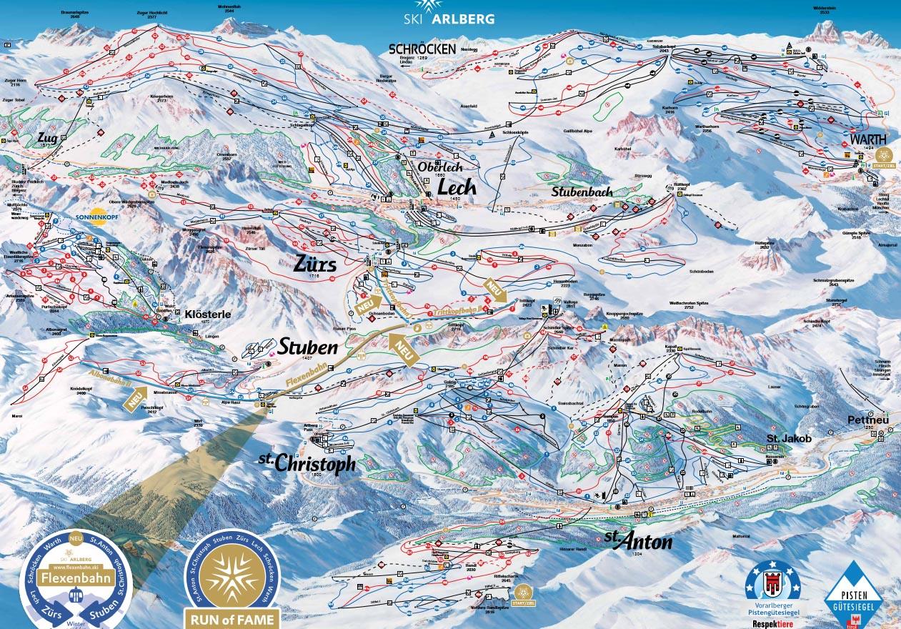 skimapa Arlberg