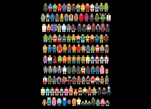 "8-Bit Pop Culture T-Shirt ""Mini Pixels"" by Threadless"