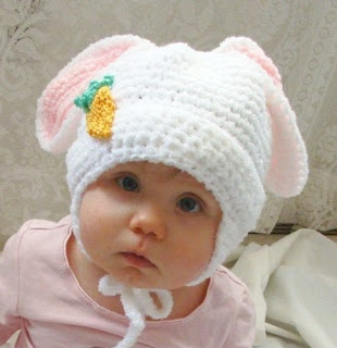 crochet easter bunny hat for newborn and adults