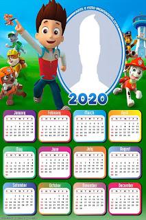 Paw Patrol: Calendario 2020 para Imprimir Gratis.