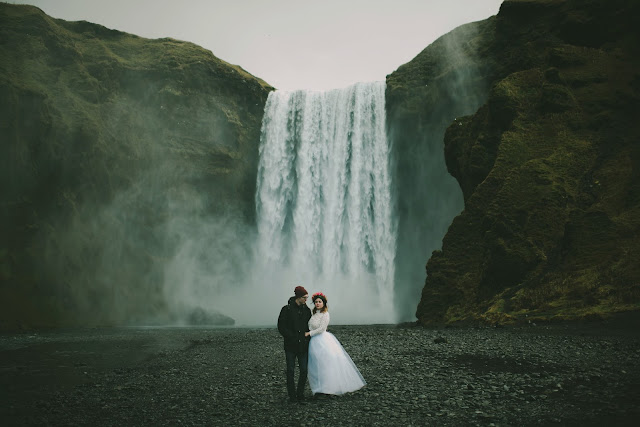 Skógafoss, Iceland, wedding, elopement, bridal, Violet, Short