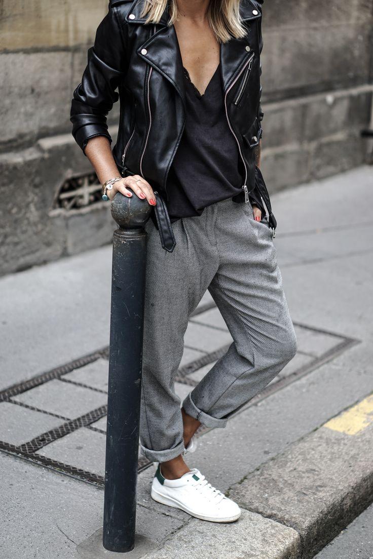 fall autumn winter fashion inspiration blogger leather jacket slip lace