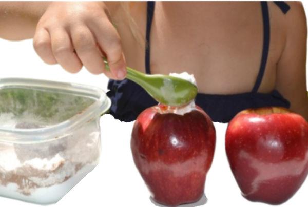 How to make an apple volcano. #applevolcano #applevolcanoexperiment #appleactivitiespreschool #scienceexperimentskids #growingajeweledrose