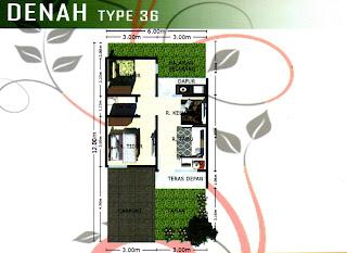 Floor Plan Rumah Subsidi, DP Hanya 2,5 Juta, Cicilan 900 rb an, Lokasi di Jl. Paya Bakung Diski Medan Binjai Km 14 Deli Serdang