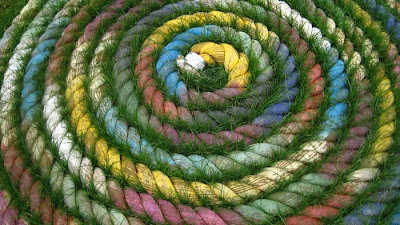Coiled rope, colored, with grass growing between the concentric rounds