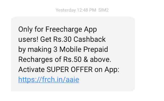 Freecharge Super Offer - Get Rs.30 Cashback By Doing 3 Mobile Recharge