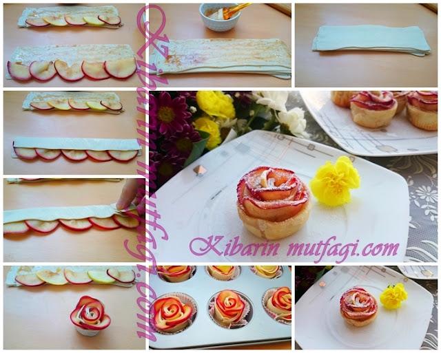 Elmalı gül tatlısı nasıl yapılır ( resimli anlatım)  elmalı gül kurabiyesi yapılışı