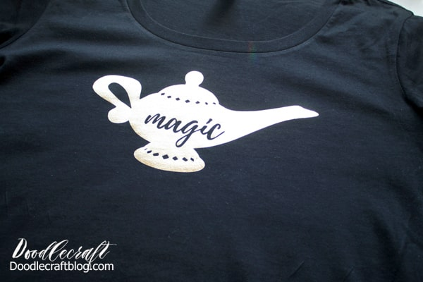 Magic lamp shirt made with gold foil iron-on and the Cricut Maker/EasyPress 2