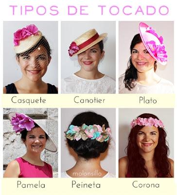 6 clases de tocados diferentes, casquete, canotier, plato, pamela, peineta y corona
