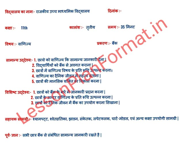 Commerce Lesson Plan in Hindi | Bank | Class 11