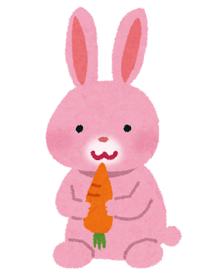 ピンクのうさぎのイラスト