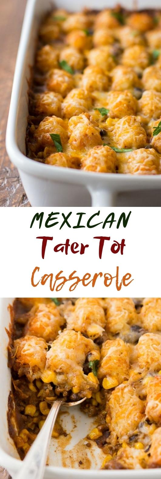 Mexican Tater Tot Casserole #deliciousrecipe #dinner