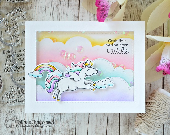 Unicorn Card by Tatiana Trafimovich | Believe in Unicorns Stamp Set & Sky Borders Die set by Newton's Nook Designs #newtonsnook