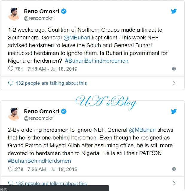 2 weeks ago, CNG threatened Southerners and president Buhari kept silent. This week NEF advised herdsmen to leave the South but Buhari instructs herdsmen to ignore them. Is Buhari in government for Nigeria or herdsmen? Asked Reno