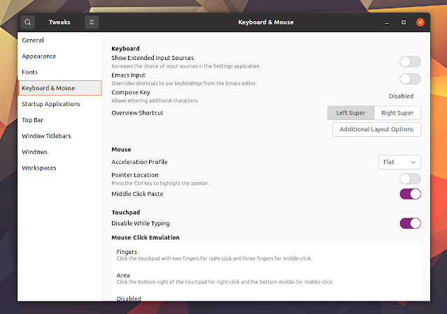 GNOME Tweaks disable mouse while typing