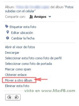 Mover fotos sin visor Facebook 2013