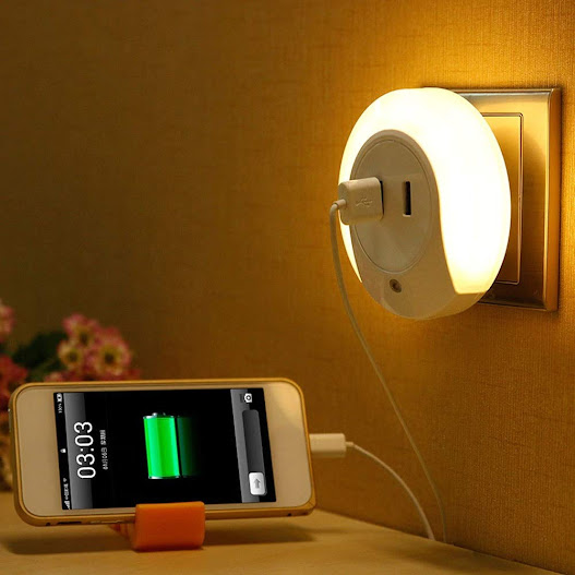 Smart Control Sensor LED Night Light Bedroom Lamp with Dual USB Phone Charging Switch Socket