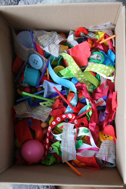 Crafty Creative Couponing Casey Fabric Scraps Sensory Box