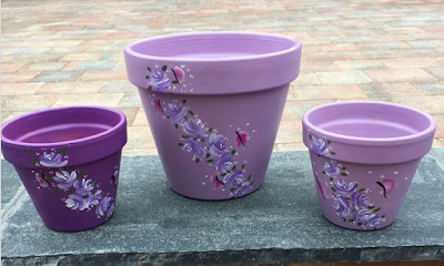 Jaxs used our Butterflies and Vintage Rose painting kits to decorate these pretty pots #giftidea #folkart