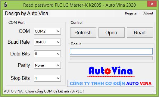 Phần mềm mở khóa, đọc mật khẩu PLC LS Master-K200S, crack password PLC LS Master K200S
