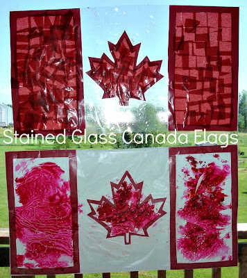 Two Stained Glass Canada Flags