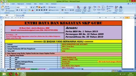 Contoh pembuatan SKP Guru Menggunakan Aplikasi Excel