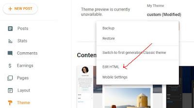 Tema > Edit HTML