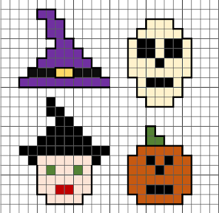 Mini Halloween cross stitch or Hama bead pixel art designs