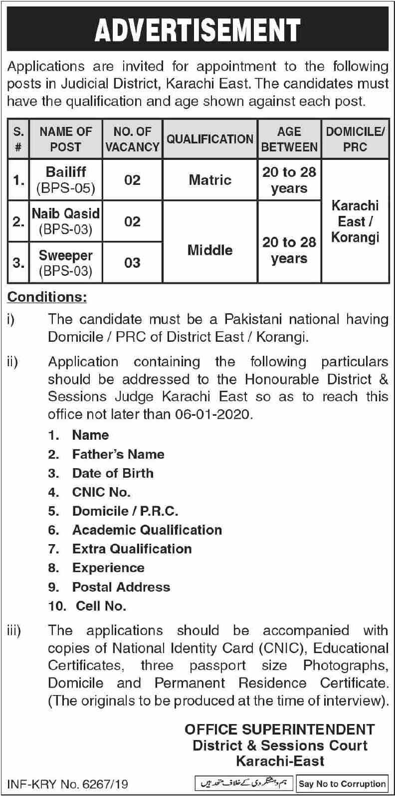 Jobs in District & Session Court Karachi 2020