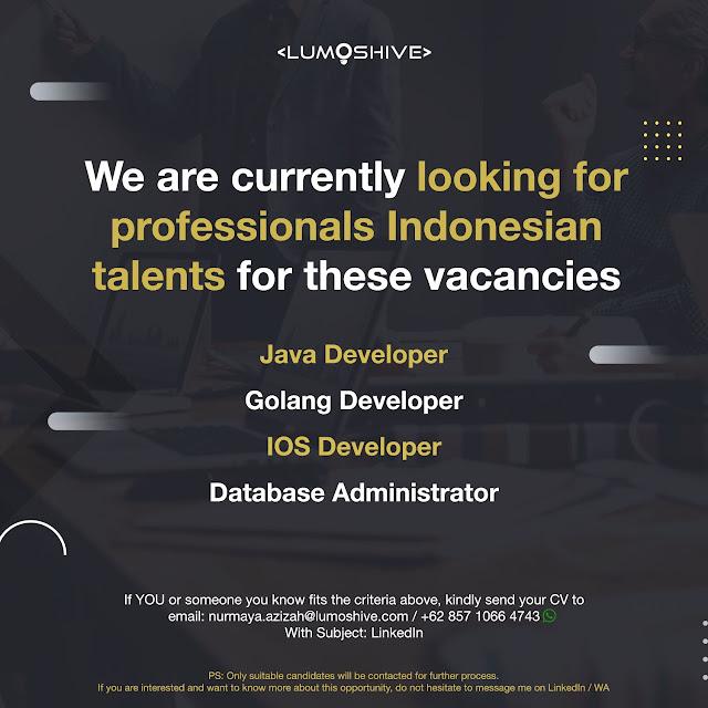 Lowongan Kerja Java, Golang, IOS (Developer) dan Database Administrator