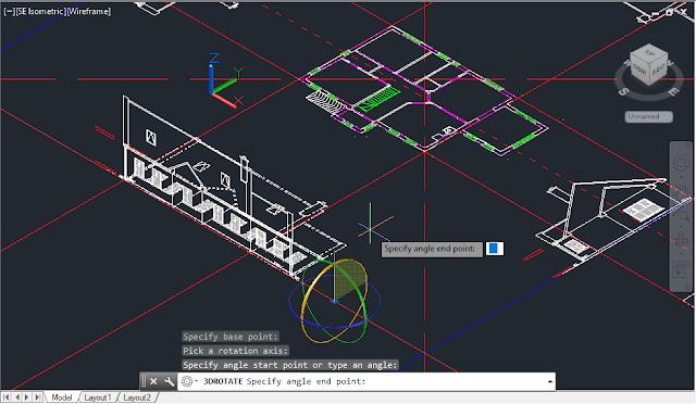 3d commands and tools, 3d AutoCAD, 3D rotation tool