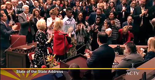 Clip from Governor Ducey's State of the State Address video of standing ovation in honor of Adonis