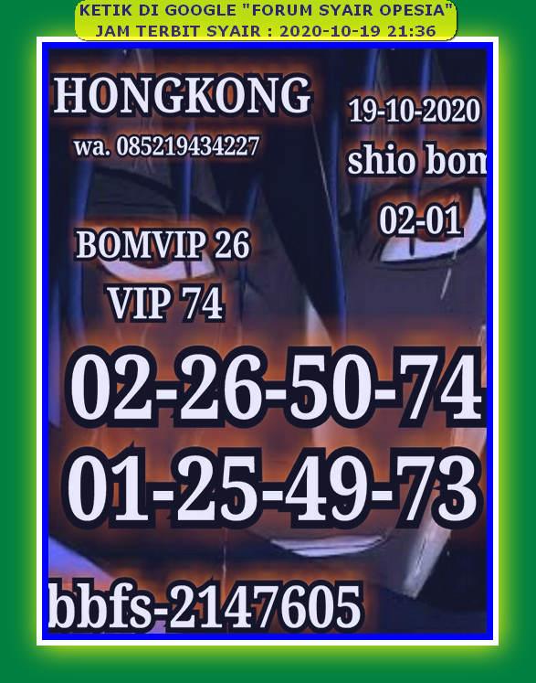 Kode syair Hongkong senin 19 oktober 2020 46