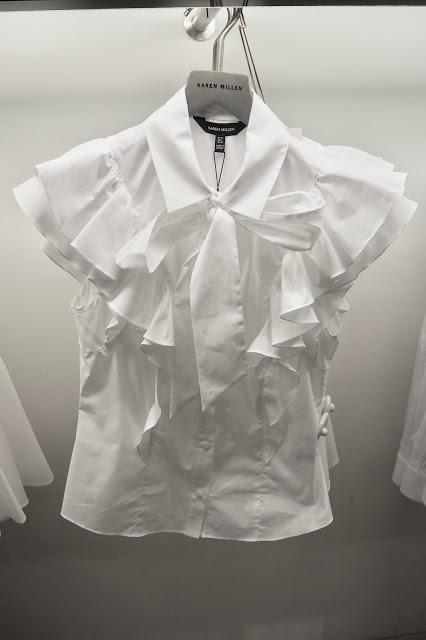 Karen Millen Frill Pussybow White Shirt