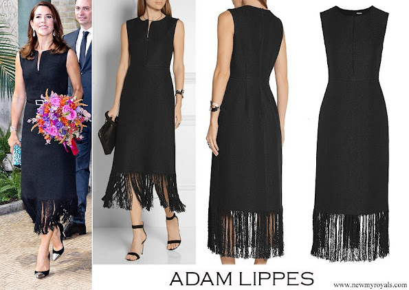 Crown Princess Mary wore Adam Lippes Fringed Linen And Cotten-blend Tweed Dress