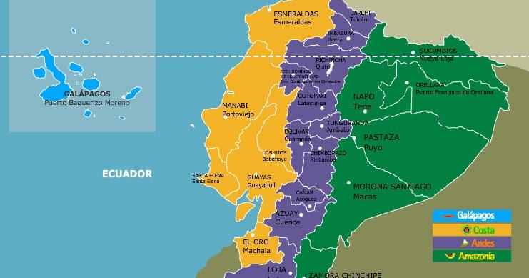 Mapas de Ecuador: Mapa del ecuador con sus regiones