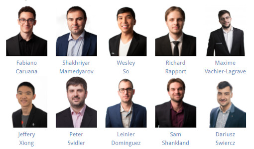 Les 10 participants de l'édition 2021 de la Sinquefield Cup - Photo © Grand Chess Tour