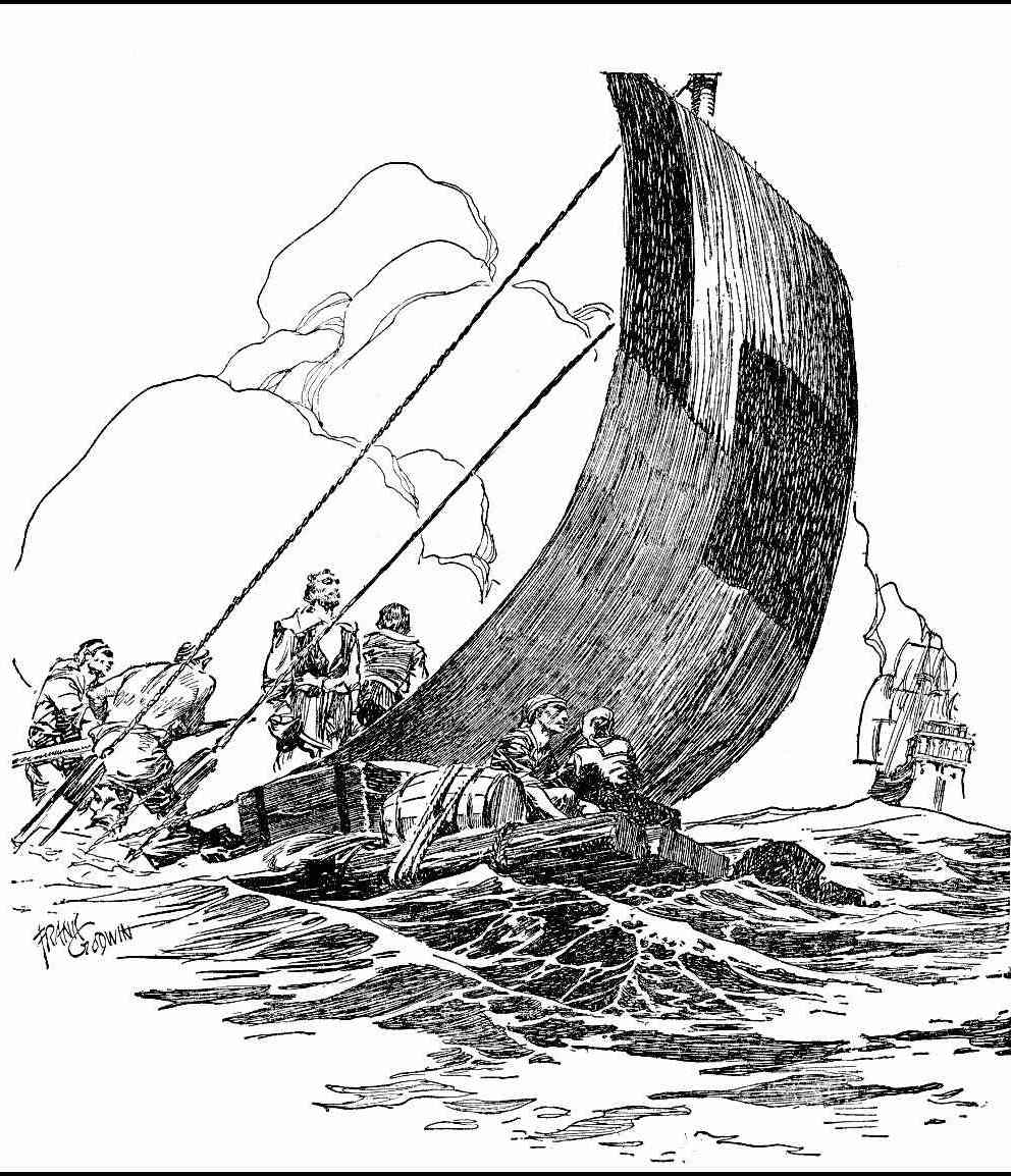 a Frank Godwin illustration of sailers on a survival raft after mutiny