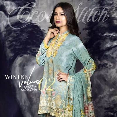 cross stitch winter linen khaddar dresses collection 2017 (4)