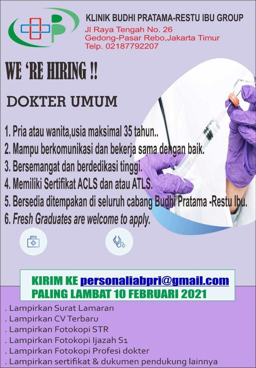Loker Dokter Klinik Budhi Pratama Restu Ibu Group Jakarta Timur