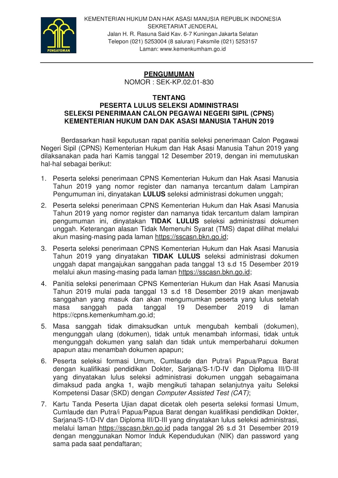 Hasil Seleksi Administrasi CPNS Kementerian Hukum dan HAM Tahun 2019