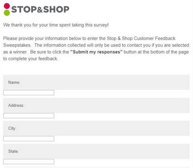 stop and shop survey winners
