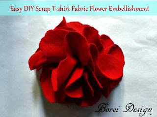 How to make a flower embellishment or pin from an old t-shirt.